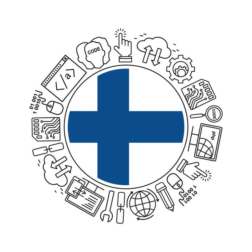 Internet technology and programming in Finland round shape background with linear icons set. Html, php and code circle pattern with line style icons with Finland flag