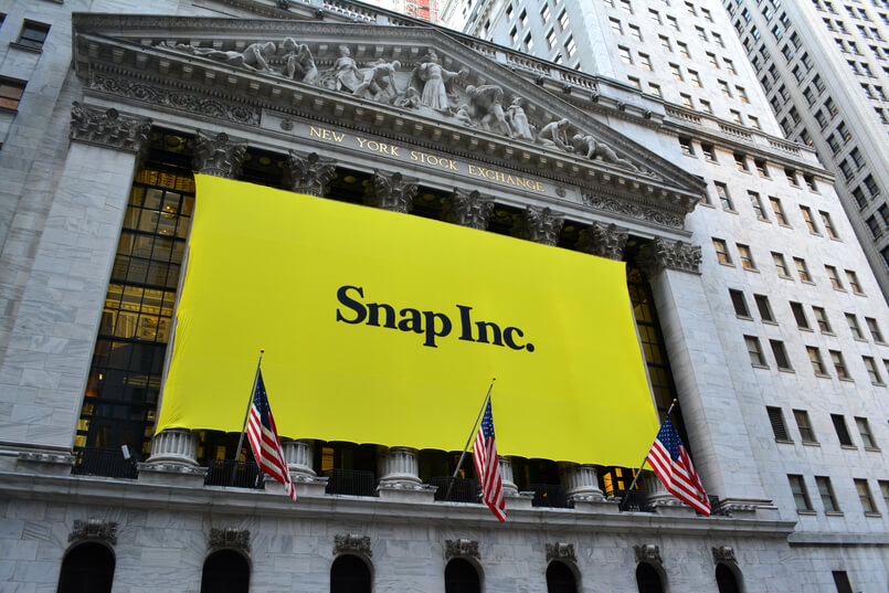 New York City, USA - March 2, 2017 Sign at the New York Stock Exchange marking the Initial Public Offering of Snapchat's parent company, Snap Inc